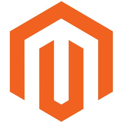 Logo of orange hexagon with white cut out angular letter M for Magento